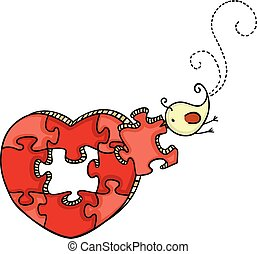 Little bird with heart shaped puzzle
