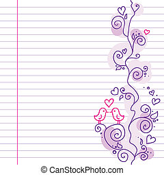 little birds - cute wedding violet pattern with small birds