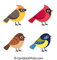 Little birds set - Set of cute cartoon small birds: Cedar ...