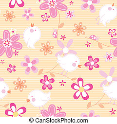 Little birds with flowers seamless pattern