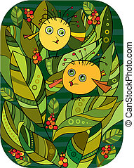 Little Birl Bush - Two amusing round yellow birdies among...
