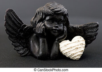 little black angel with heart