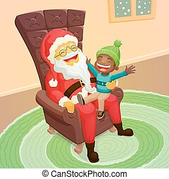 Little black boy asking Santa Claus for a big present