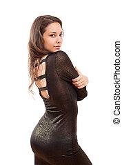 Little black dress. - Portrait of festive gorgeous young...
