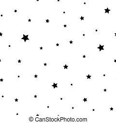 Little black stars on a white background seamless pattern
