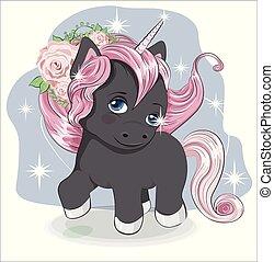 little black unicorn in flower