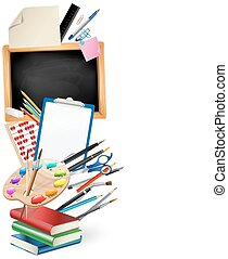 little blackboard border with notepad sheets, color pencils, pens, ruler, art palette, pile of books. school vertical background