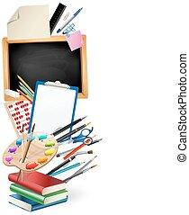 little blackboard border with notepad sheets, color pencils, pens, ruler,art palette, pile of books. school vertical background