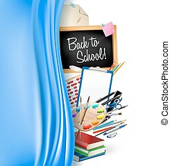 little blackboard border with notepad sheets, color pencils, pens, ruler,art palette, pile of books and silky curtain. back to school vector background