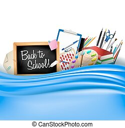 little blackboard border with notepad sheets, color pencils, pens, ruler,art palette, pile of books and silky curtain. back to school vector horizontal background