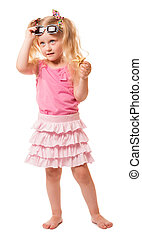 Little blond girl holding sunglasses and starfish isolated on white.