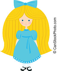 little blond girl in a blue dress