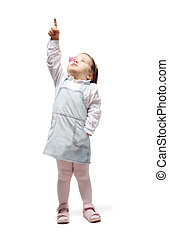 Little blond girl in jean sundress points finger up and looks up