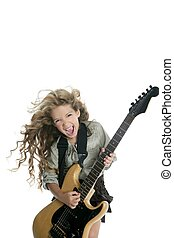 little blond girl playing electric guitar hardcore wind hair...