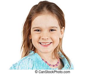 Little blond girl smiling