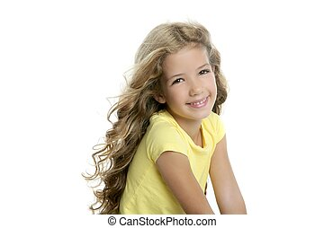 little blond girl smiling portrait yellow tshirt isolated on white background