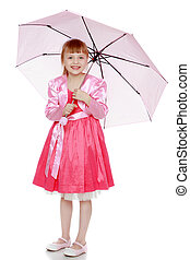 Little blond girl with a pink umbrella.