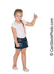Little blond girl with her thumb up