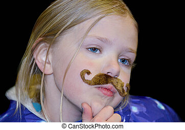 little blond girl with mustache