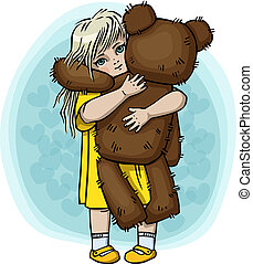 Little blond girl with teddy bear