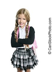 little blond school girl  with handbag