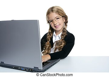 little blond student school girl with laptop
