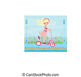 Little blonde girl riding a scooter