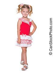 Little blonde girl walks
