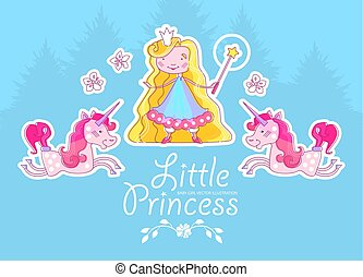 Little Blonde Hair Princess Design Template with Fantastic Unicorn, Magic Wand, Crown, Coniferous Forest and Flowers. Vector illustration