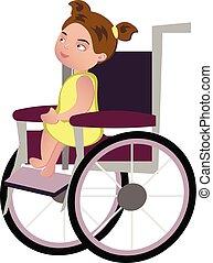Little blondy girl on a wheelchair. Vector illustration