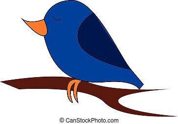 Little blue birdillustration vector on white background