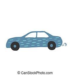Little blue car in doodle style. Cute children automobile transportation.