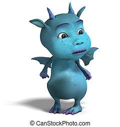 little blue cute toon dragon devil - 3D rendering of a...