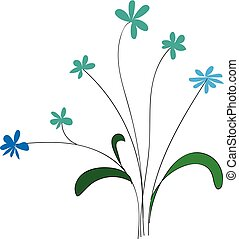 Little blue flowersillustration vector on white background