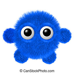 Little blue furry monster with arms and legs. Fluffy...
