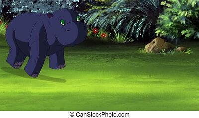 Little Blue Hippo Runs Front View. Handmade animation,...
