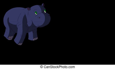 Little Blue Hippo Runs Front View. Animated Motion Graphic...