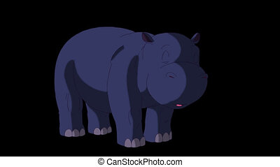Little Blue Hippo Wakes Up and Open His Mouth.
