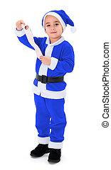 Little blue Santa Claus boy holding blank wish list - Little...