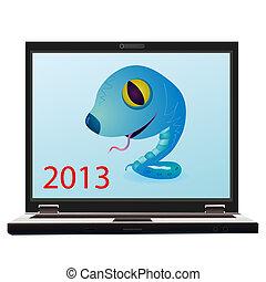 Little blue snake on the screen of