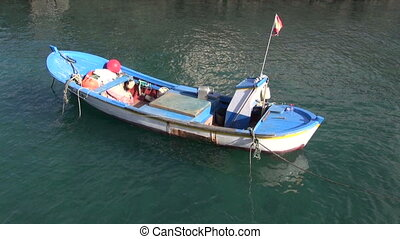 Little boat swaying on water - Small white and blue boat...