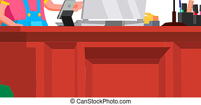 Little Boss Girl, Serious Child In Big Glasses Sitting At Office Desk Vector. Isolated Illustration