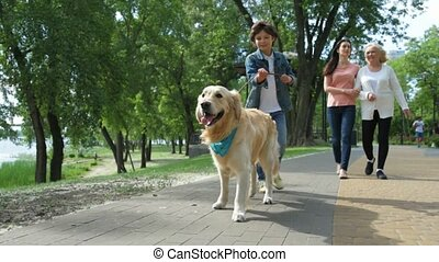 Little bot walking with his dog in the park