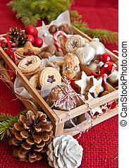 Little box with a variety of cookies and nuts - Little...