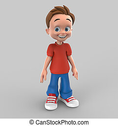 little boy 3d illustration