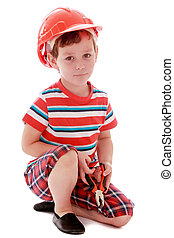 Little boy a helmet on his head