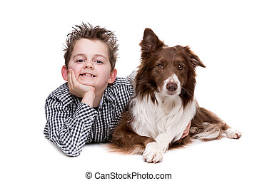 little boy and a border collie