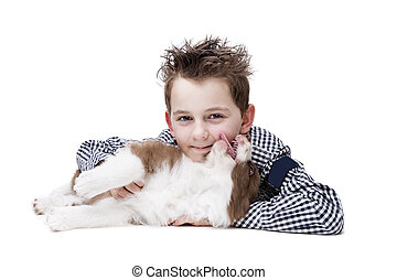 little boy and a border collie puppy
