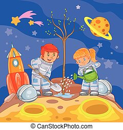 Little boy and girl astronauts planting a tree
