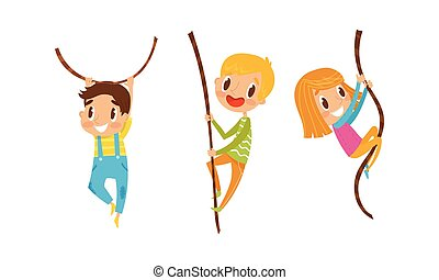 Little Boy and Girl Climbing and Swinging on Rope Vector Set